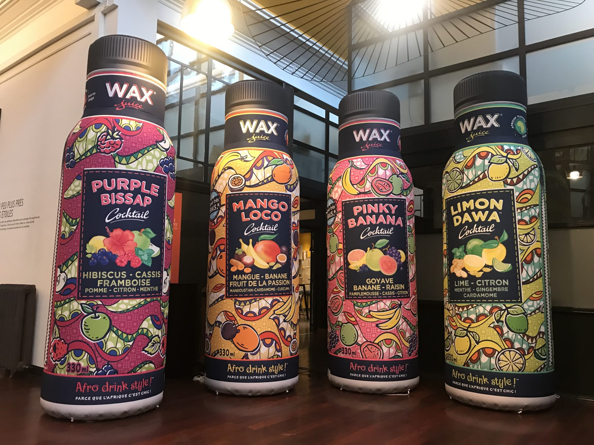 PLV bouteilles gonflables WAX